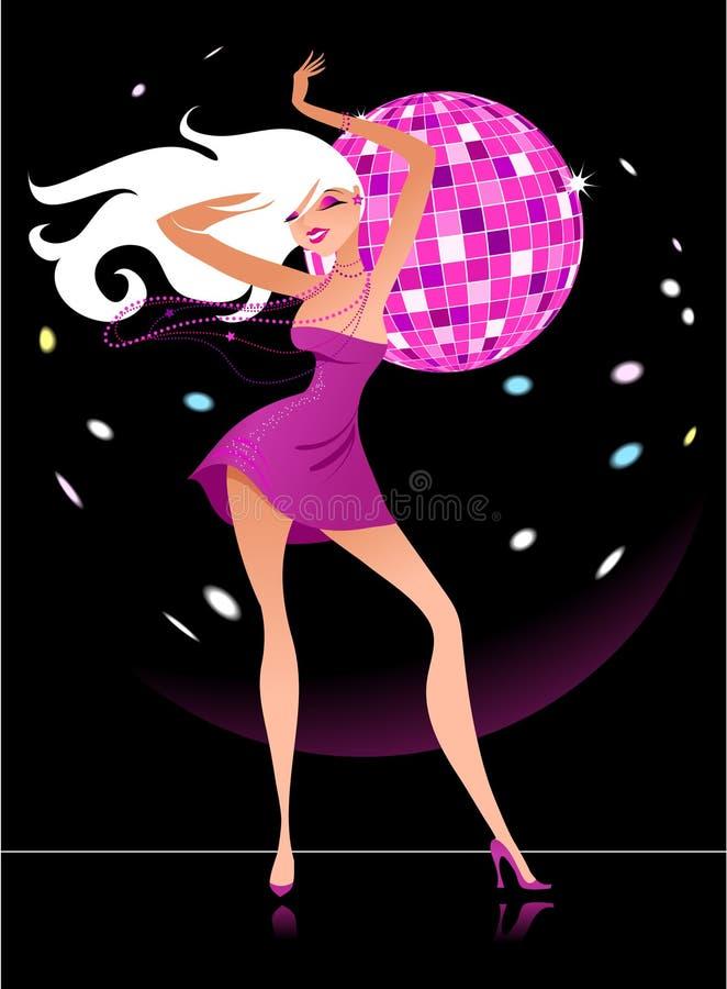 Προκλητικό κορίτσι συμβαλλόμενων μερών disco - 7 διανυσματική απεικόνιση