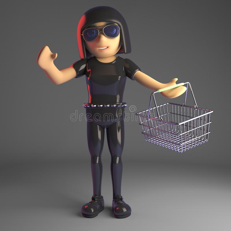 Προκλητικό κορίτσι goth στο δέρμα που φέρνει ένα καλάθι αγορών, τρισδιάστατη απεικόνιση απεικόνιση αποθεμάτων