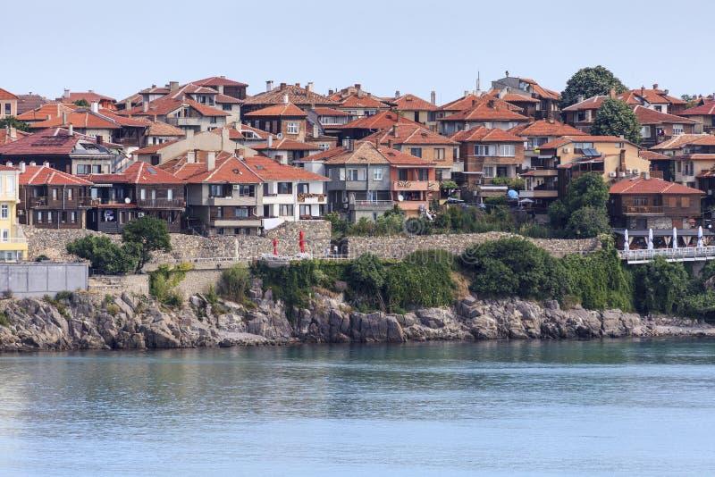 Προκυμαία στην πόλη Sozopol παραθαλάσσιων θερέτρων, Βουλγαρία, Μαύρη Θάλασσα στοκ φωτογραφία με δικαίωμα ελεύθερης χρήσης
