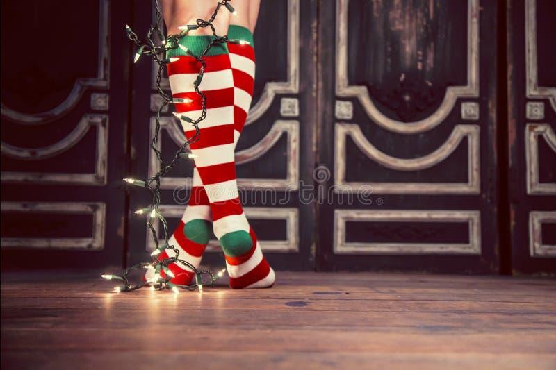 Προκλητικές κάλτσες Χριστουγέννων στοκ εικόνες