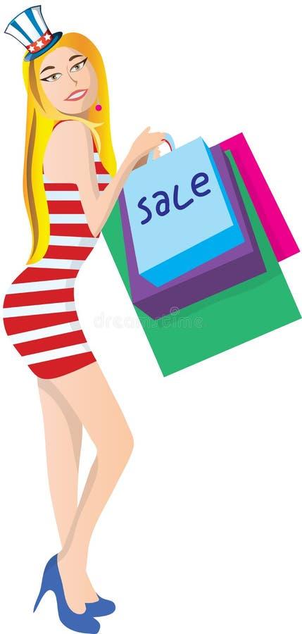 προκλητική γυναίκα Μανία αγορών μόδας το τέταρτο του Ιουλίου Διανυσματική απεικόνιση ψευδο τρισδιάστατο eps κοριτσιών jpg απεικόνιση αποθεμάτων