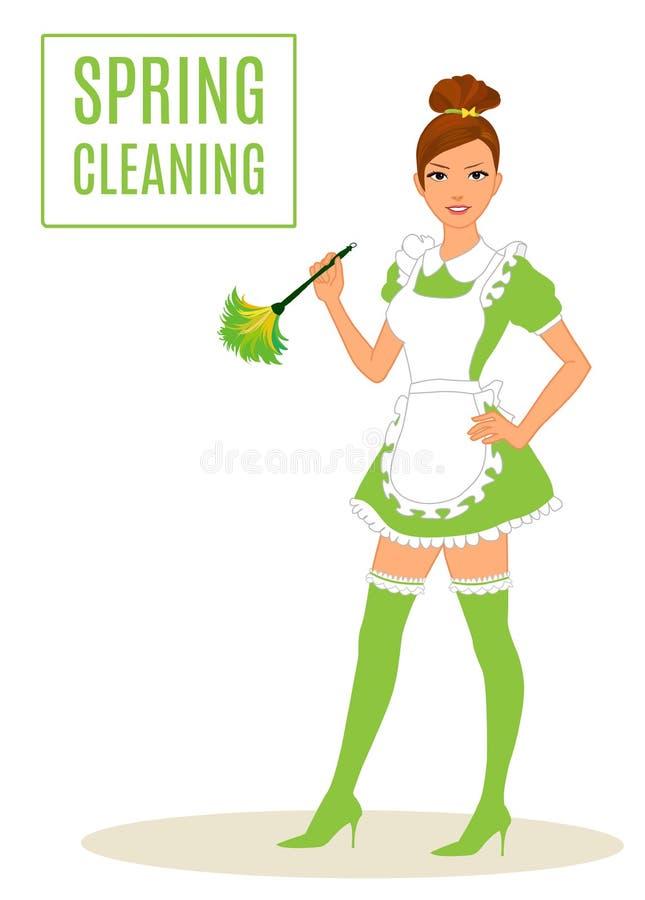 Προκλητική καθαρίζοντας κυρία ξεσκόνισμα κοριτσιών διανυσματική απεικόνιση