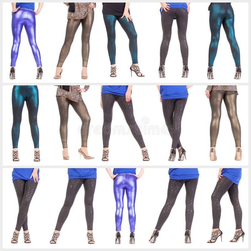 Προκλητικοί πόδια και γλουτοί της γυναίκας κολάζ ντυμένοι στο λαμπύρισμα leggin στοκ φωτογραφία με δικαίωμα ελεύθερης χρήσης