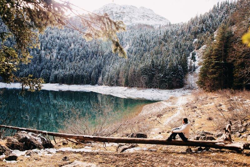 Προκλητικός περίπατος γυναικών στο χιονώδες δάσος στοκ φωτογραφία με δικαίωμα ελεύθερης χρήσης