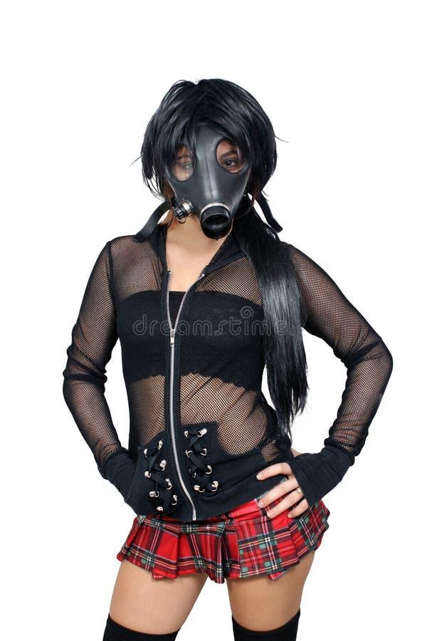 Προκλητικό κορίτσι που φορά μια μάσκα αερίου (1) στοκ εικόνες