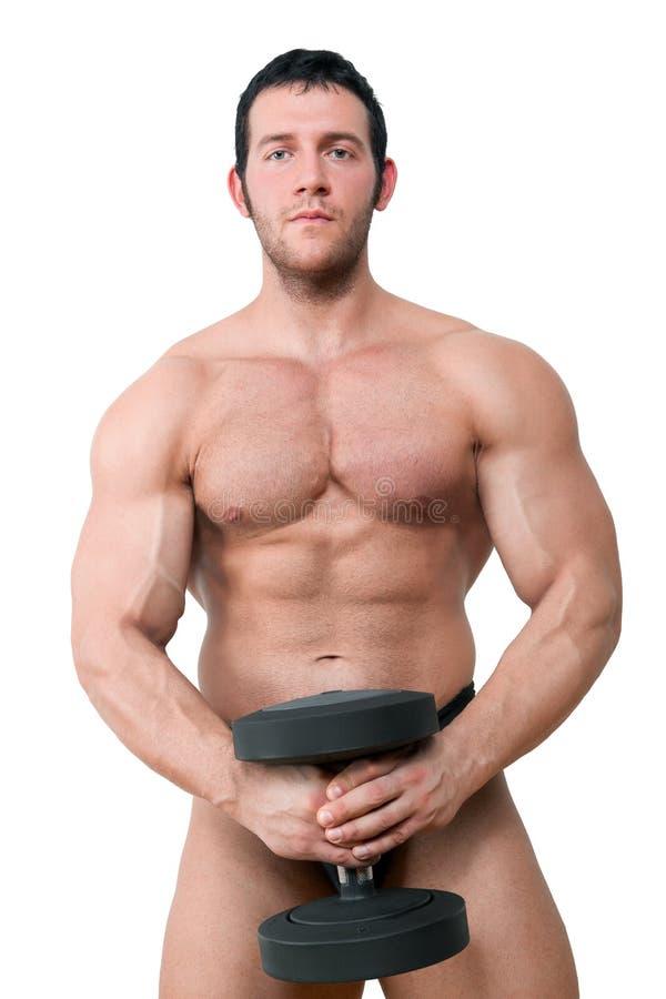 Προκλητικό μυϊκό bodybuilder που απομονώνεται στο λευκό. στοκ εικόνα με δικαίωμα ελεύθερης χρήσης