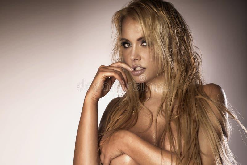 Προκλητικό πορτρέτο της ξανθής όμορφης γυναίκας στοκ εικόνα με δικαίωμα ελεύθερης χρήσης