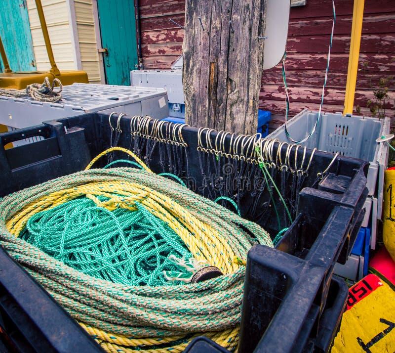 Προμήθειες αλιείας σε ένα λιμάνι στοκ φωτογραφίες