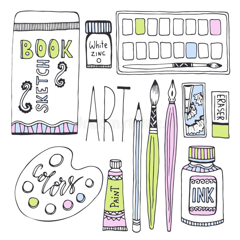 Προμήθειες τέχνης για το σχέδιο Διάνυσμα σκίτσων που τίθεται με τα χρώματα, την παλέτα, sketchbook και άλλα υλικά ελεύθερη απεικόνιση δικαιώματος