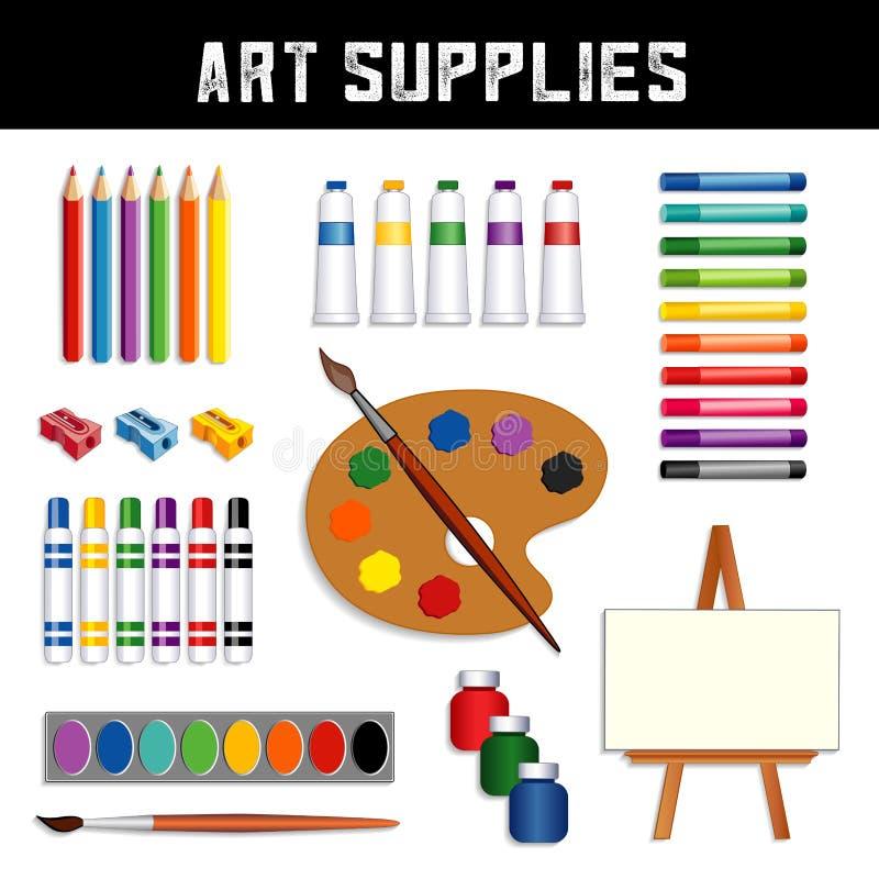 Προμήθειες τέχνης: χρώματα, easel, watercolors, βούρτσες, παλέτα απεικόνιση αποθεμάτων