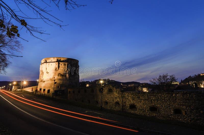 Προμαχώνας ακροπόλεων τη νύχτα στοκ εικόνα με δικαίωμα ελεύθερης χρήσης