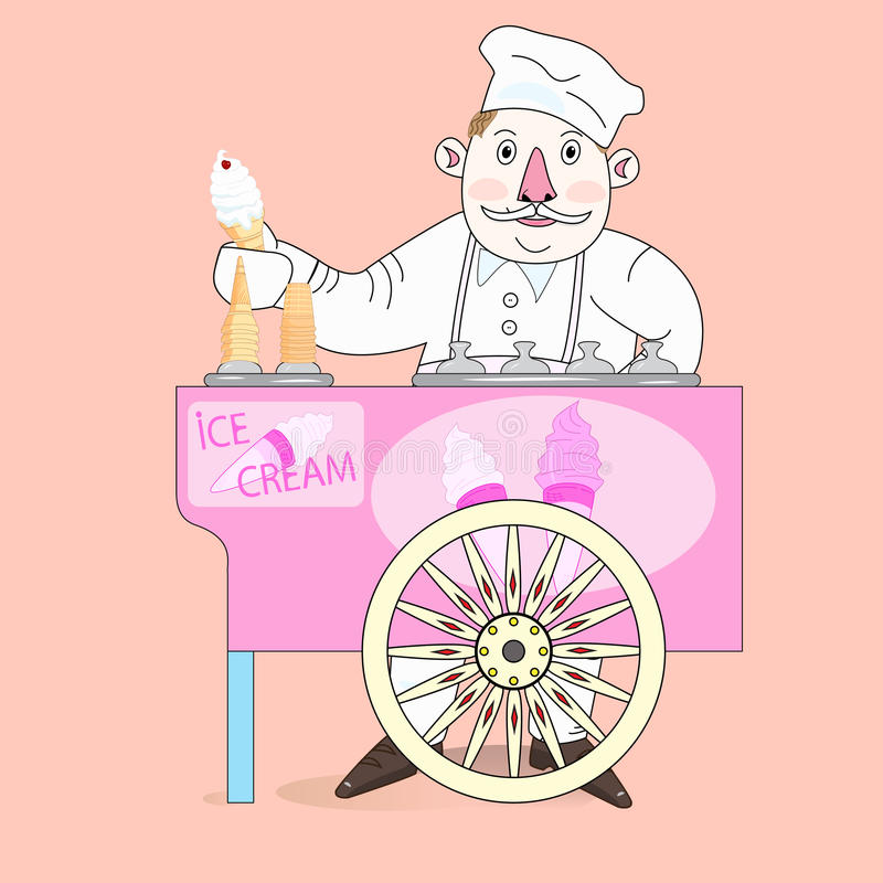 Προμηθευτής παγωτού με το κάρρο. διανυσματική απεικόνιση