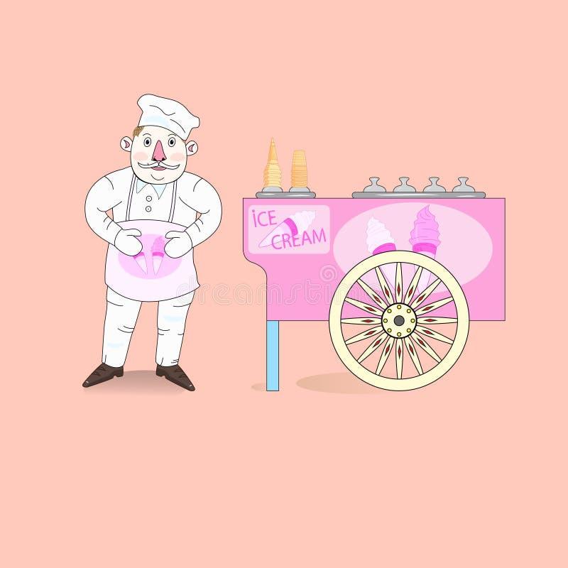 Προμηθευτής παγωτού με το κάρρο. απεικόνιση αποθεμάτων