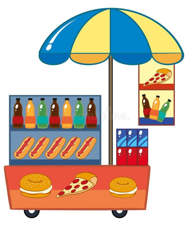 Προμηθευτής τροφίμων με το χοτ ντογκ και τα ποτά απεικόνιση αποθεμάτων