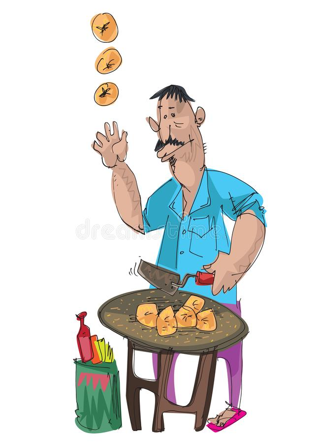 Προμηθευτής τροφίμων οδών διανυσματική απεικόνιση