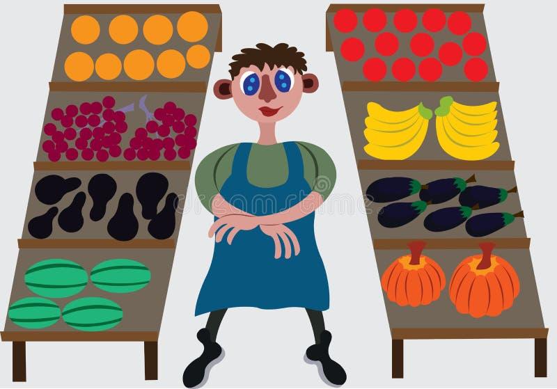 Προμηθευτής φρούτων στο κατάστημά του ελεύθερη απεικόνιση δικαιώματος