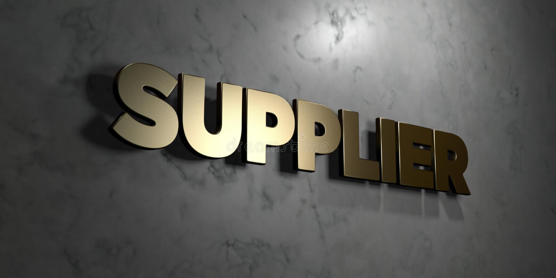 Προμηθευτής - χρυσό σημάδι που τοποθετείται στο στιλπνό μαρμάρινο τοίχο - τρισδιάστατο δικαίωμα ελεύθερη απεικόνιση αποθεμάτων διανυσματική απεικόνιση
