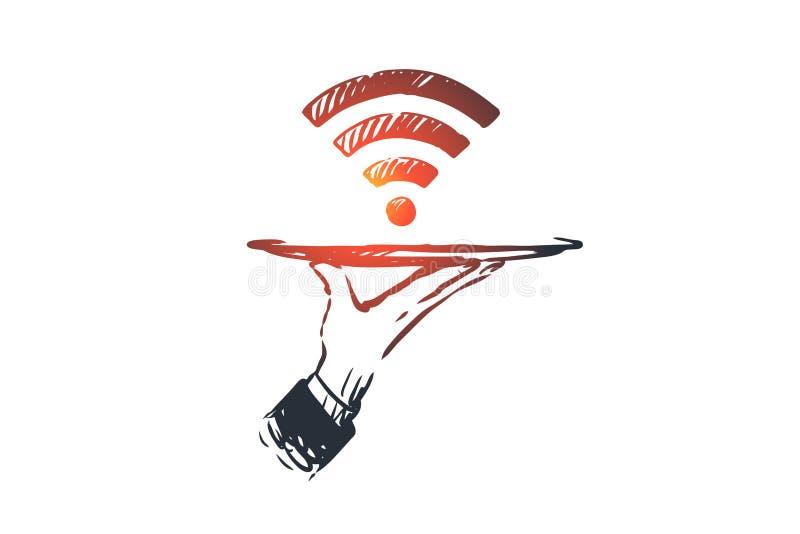 Προμηθευτής, WI-Fi, Διαδίκτυο, δίκτυο, έννοια πρόσβασης Συρμένο χέρι απομονωμένο διάνυσμα διανυσματική απεικόνιση