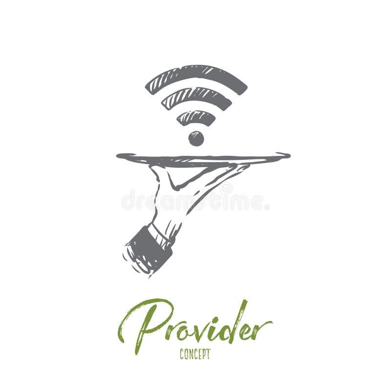 Προμηθευτής, WI-Fi, Διαδίκτυο, δίκτυο, έννοια πρόσβασης Συρμένο χέρι απομονωμένο διάνυσμα ελεύθερη απεικόνιση δικαιώματος