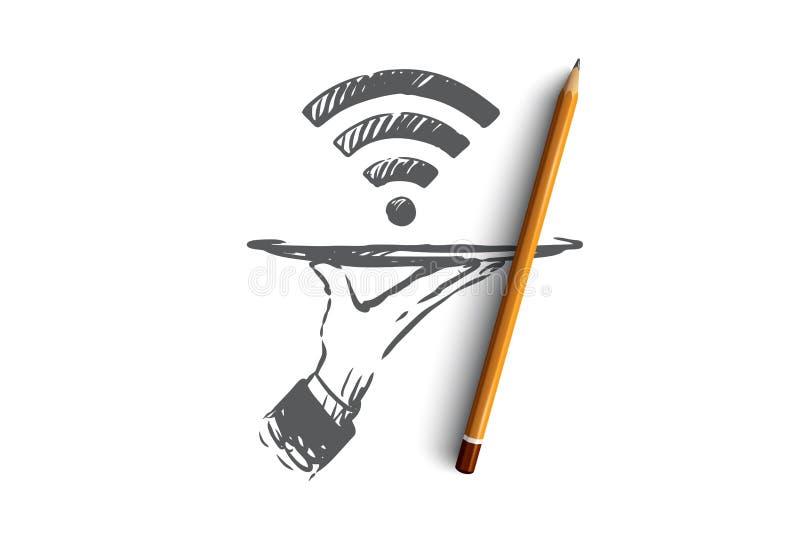 Προμηθευτής, WI-Fi, Διαδίκτυο, δίκτυο, έννοια πρόσβασης Συρμένο χέρι απομονωμένο διάνυσμα απεικόνιση αποθεμάτων