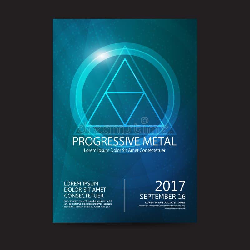 Προοδευτική υγιής αφίσα φεστιβάλ μουσικής μετάλλων Ηλεκτρονική μουσική διασκέδασης λεσχών Μουσικός ήχος έκστασης disco γεγονότος  διανυσματική απεικόνιση