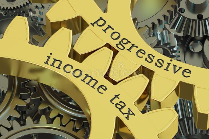 Προοδευτικός φόρος εισοδήματος, έννοια gearwheels, τρισδιάστατη απόδοση διανυσματική απεικόνιση