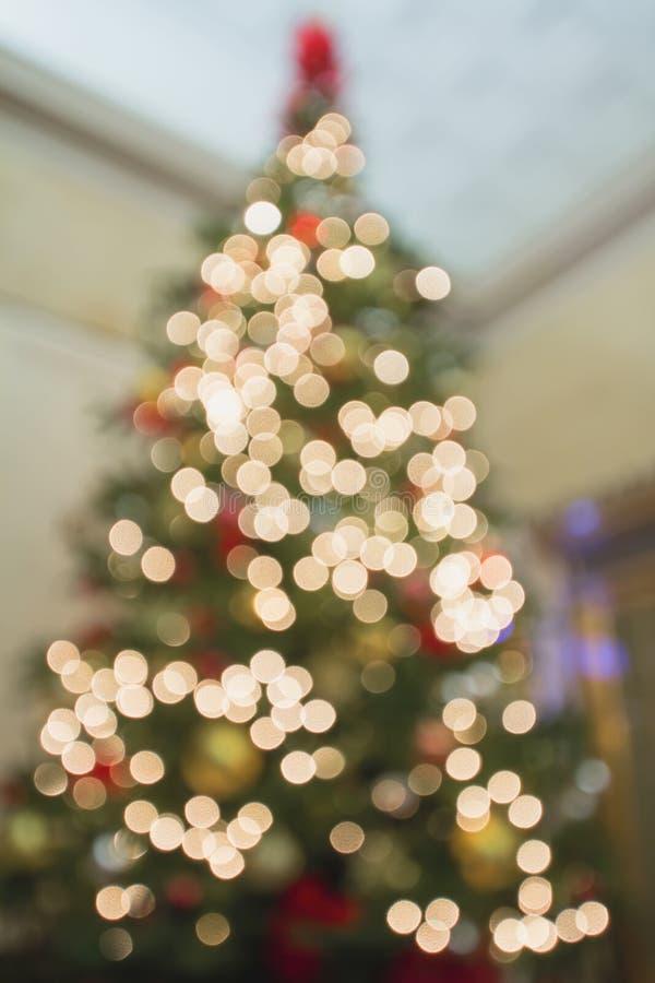 Προοπτική Defocused χριστουγεννιάτικων δέντρων με τα φω'τα Bokeh στοκ φωτογραφίες με δικαίωμα ελεύθερης χρήσης
