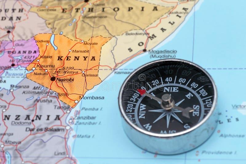 Προορισμός Κένυα, χάρτης ταξιδιού με την πυξίδα στοκ εικόνα