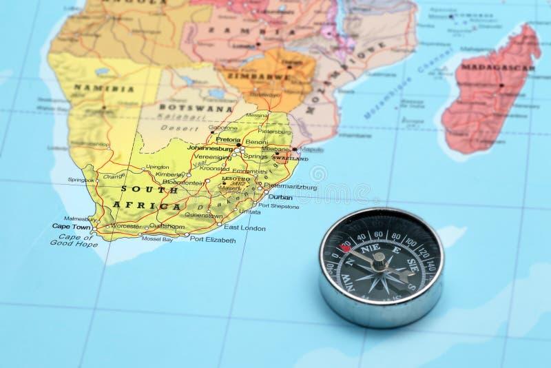 Προορισμός Νότια Αφρική, χάρτης ταξιδιού με την πυξίδα στοκ φωτογραφίες με δικαίωμα ελεύθερης χρήσης