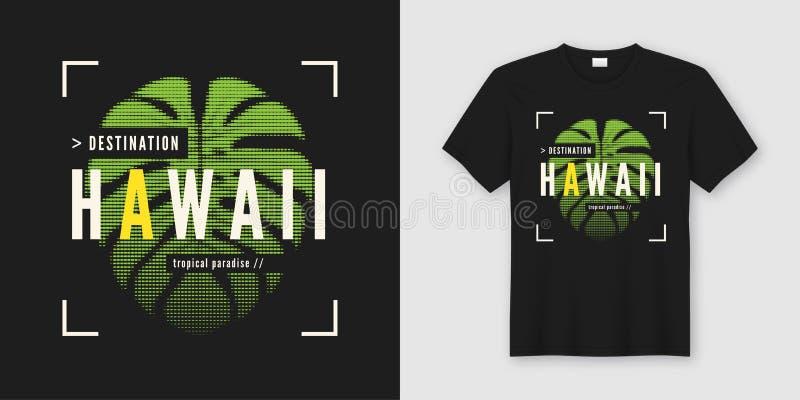 Προορισμός Χαβάη Μοντέρνα WI σύγχρονου σχεδίου μπλουζών και ενδυμασίας απεικόνιση αποθεμάτων