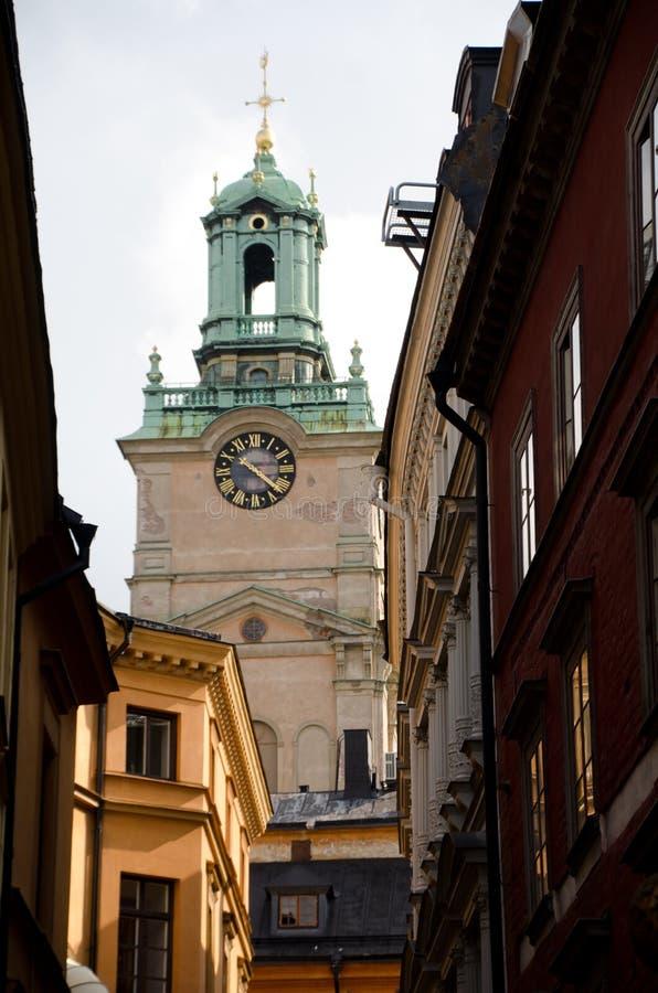 Προσέγγιση Storkyrkan από Trangsund στοκ εικόνα