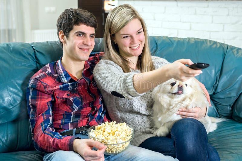 προσέχοντας νεολαίες TV ζ στοκ φωτογραφία