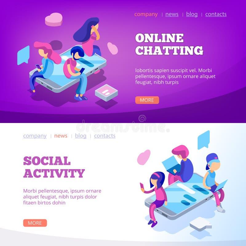 Προσγείωση συνομιλίας Εικονικοί άνθρωποι σχέσης που μιλούν τη σε απευθείας σύνδεση app lap-top smartphone συσκευών κοινωνική χρον ελεύθερη απεικόνιση δικαιώματος