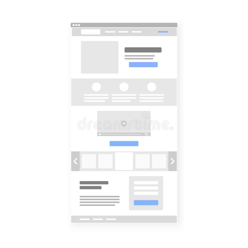 Προσγειωμένος πρότυπο διεπαφών ιστοχώρου σελίδων wireframe διάνυσμα διανυσματική απεικόνιση