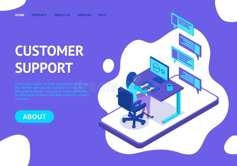 Προσγειωμένος πρότυπο ιστοσελίδας έννοιας υποστήριξης πελατών r διανυσματική απεικόνιση