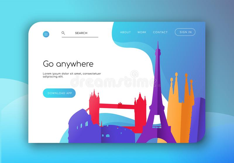 Προσγειωμένος πρότυπο ιστοσελίδας για την επιχείρηση ταξιδιού ελεύθερη απεικόνιση δικαιώματος