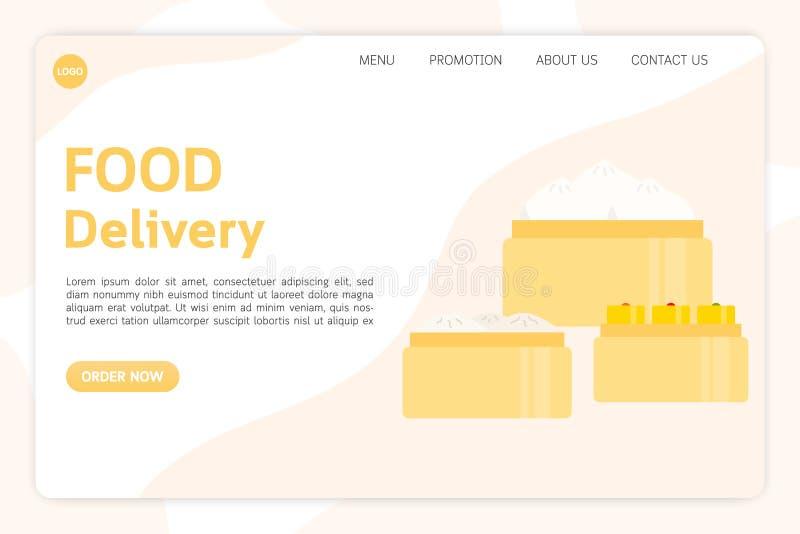 Προσγειωμένος πρότυπο ιστοσελίδας για την παράδοση τροφίμων, εστιατόριο, κινεζικά τρόφιμα απεικόνιση αποθεμάτων