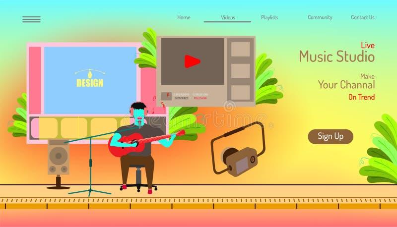 Προσγειωμένος πρότυπο ιστοχώρου σελίδων στούντιο ζωντανής μουσικής κάνετε το channal σας στην τάση τηλεοπτικό περιεχόμενο συντακτ ελεύθερη απεικόνιση δικαιώματος