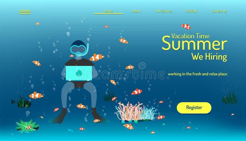 Προσγειωμένος πρότυπο ιστοχώρου σελίδων χρόνος θερινών διακοπών εργασία μίσθωσης στο φρέσκο και χαλαρώνουμε τη θέση ψάρια nemo πο διανυσματική απεικόνιση