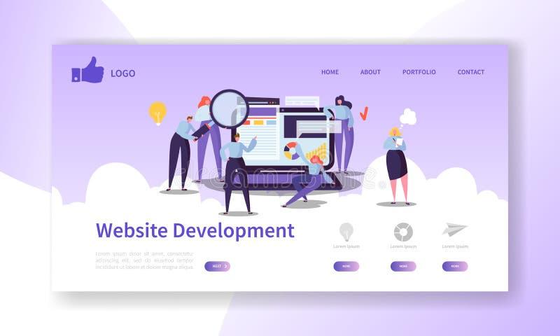 Προσγειωμένος πρότυπο σελίδων ανάπτυξης ιστοχώρου Κινητό σχεδιάγραμμα εφαρμογής με τους επίπεδους χαρακτήρες και το lap-top ανθρώ