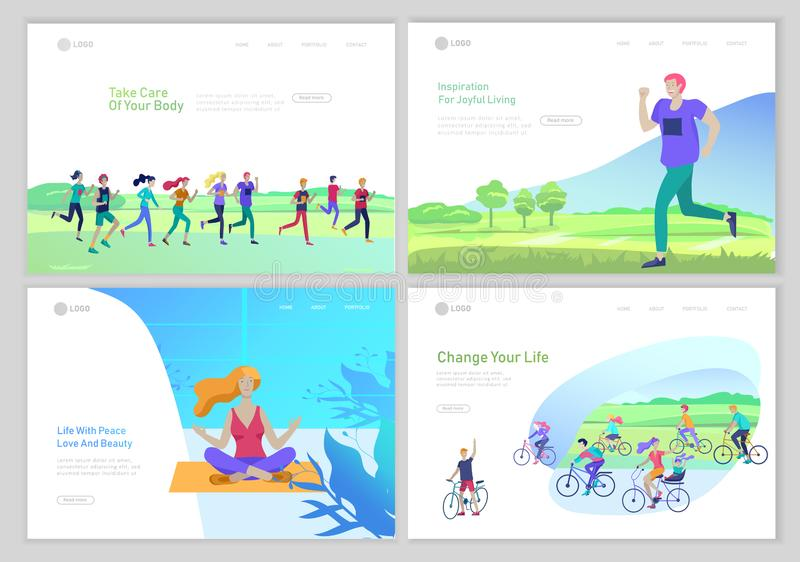 Προσγειωμένος πρότυπο σελίδων με τους τρέχοντας ανθρώπους ομάδας, κορίτσι που κάνουν τη γιόγκα workout, τρέξιμο ατόμων, ανακύκλωσ διανυσματική απεικόνιση