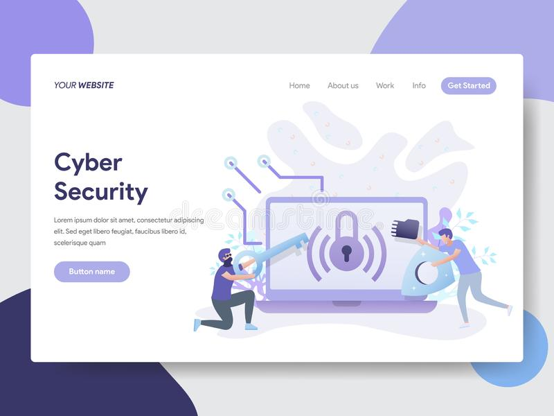 Προσγειωμένος πρότυπο σελίδων της έννοιας απεικόνισης ασφάλειας Cyber Σύγχρονη επίπεδη έννοια σχεδίου του σχεδίου ιστοσελίδας για διανυσματική απεικόνιση