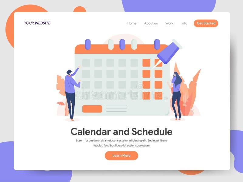 Προσγειωμένος πρότυπο σελίδων της έννοιας απεικόνισης ημερολογίων και σχεδίου Έννοια σύγχρονου σχεδίου του σχεδίου ιστοσελίδας γι απεικόνιση αποθεμάτων