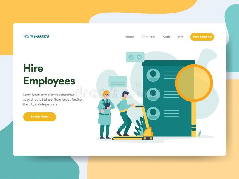 Προσγειωμένος πρότυπο σελίδων της έννοιας απεικόνισης υπαλλήλων μίσθωσης Σύγχρονη επίπεδη έννοια σχεδίου του σχεδίου ιστοσελίδας  απεικόνιση αποθεμάτων