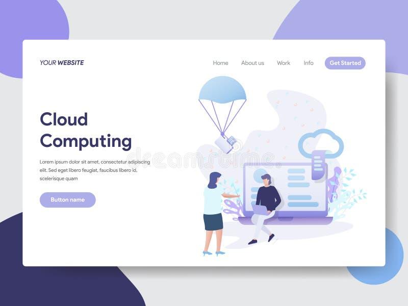 Προσγειωμένος πρότυπο σελίδων της έννοιας απεικόνισης υπολογισμού σύννεφων Σύγχρονη επίπεδη έννοια σχεδίου του σχεδίου ιστοσελίδα ελεύθερη απεικόνιση δικαιώματος