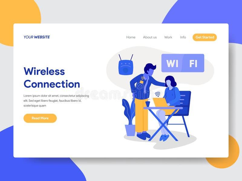 Προσγειωμένος πρότυπο σελίδων της ασύρματης έννοιας σύνδεσης και απεικόνισης Wifi Σύγχρονη επίπεδη έννοια σχεδίου του σχεδίου ιστ διανυσματική απεικόνιση