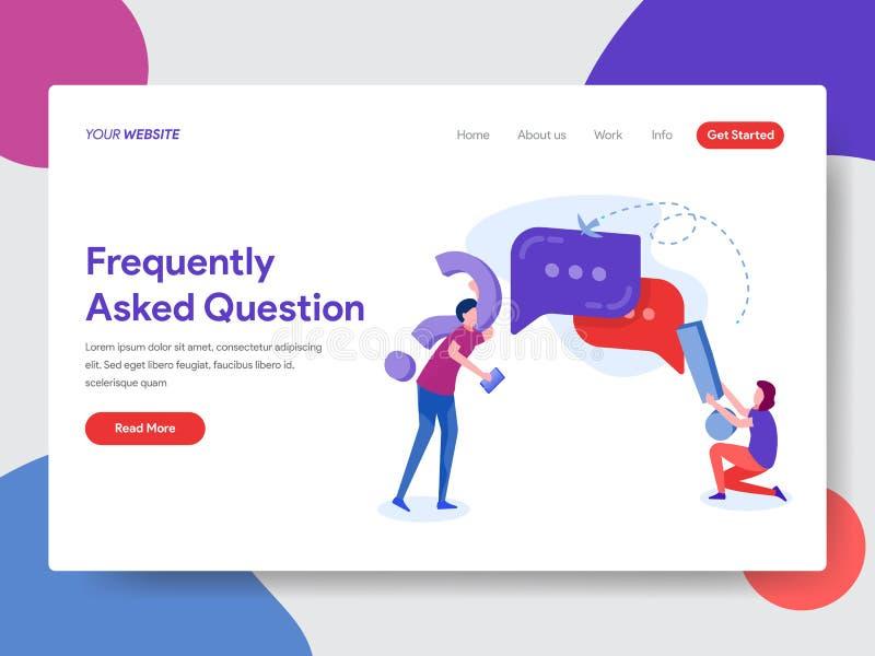 Προσγειωμένος πρότυπο σελίδων της συχνά ρωτημένης έννοιας ερώτησης Σύγχρονη επίπεδη έννοια σχεδίου του σχεδίου ιστοσελίδας για το απεικόνιση αποθεμάτων