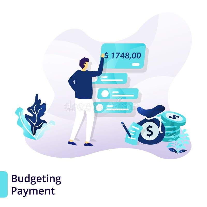 Προσγειωμένος πρότυπο σελίδων της σύνταξης προϋπολογισμού της πληρωμής Σύγχρονη επίπεδη έννοια σχεδίου της πίστωσης και του δανεί ελεύθερη απεικόνιση δικαιώματος