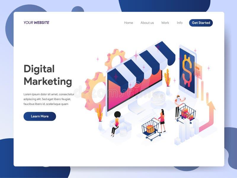 Προσγειωμένος πρότυπο σελίδων της ψηφιακής μάρκετινγκ έννοιας απεικόνισης αναλυτών Isometric Έννοια σύγχρονου σχεδίου του σχεδίου ελεύθερη απεικόνιση δικαιώματος