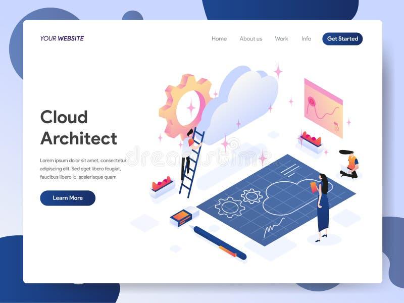 Προσγειωμένος πρότυπο σελίδων της Isometric έννοιας απεικόνισης αρχιτεκτόνων σύννεφων Έννοια σύγχρονου σχεδίου του σχεδίου ιστοσε διανυσματική απεικόνιση
